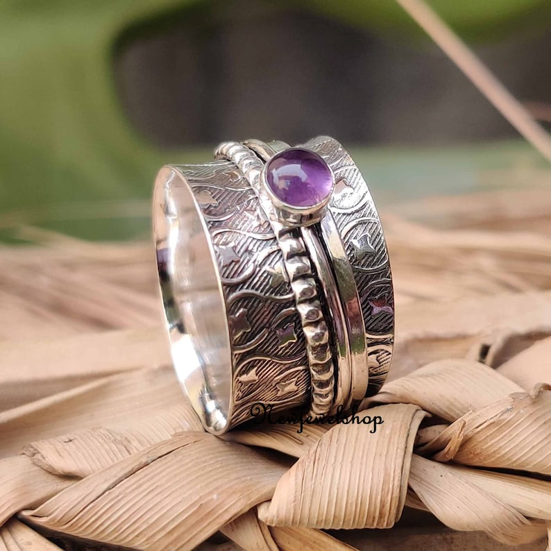 Details about  /Rose Gold 925 Sterling Silver Spinner Meditation Ring Statement Jewelry 2