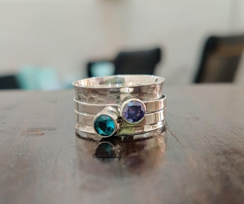 Texture Spinner 925 Sterling Silver Spinner Ring Women Ring Gift For Her Amethyst Ring Gemstone Ring Handmade Ring Topaz Ring