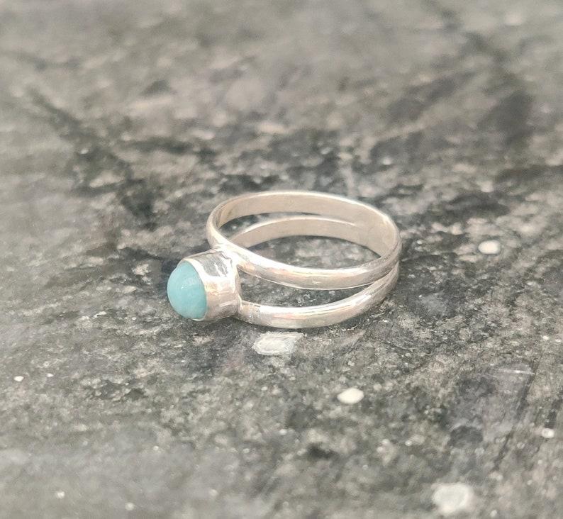 Larimar Band Ring Promised Ring 925 Silver Ring Larimar Ring Designer Ring Handmade Ring Gift Ring Gemstone Ring Women Ring