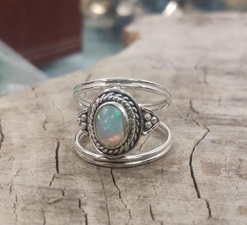 Boho Ring Handmade Ring Natural Opal Designer Ring Gift For Her Ring Gemstone Ring Opal Ring Fire Opal Jewelry 925 Silver Ring