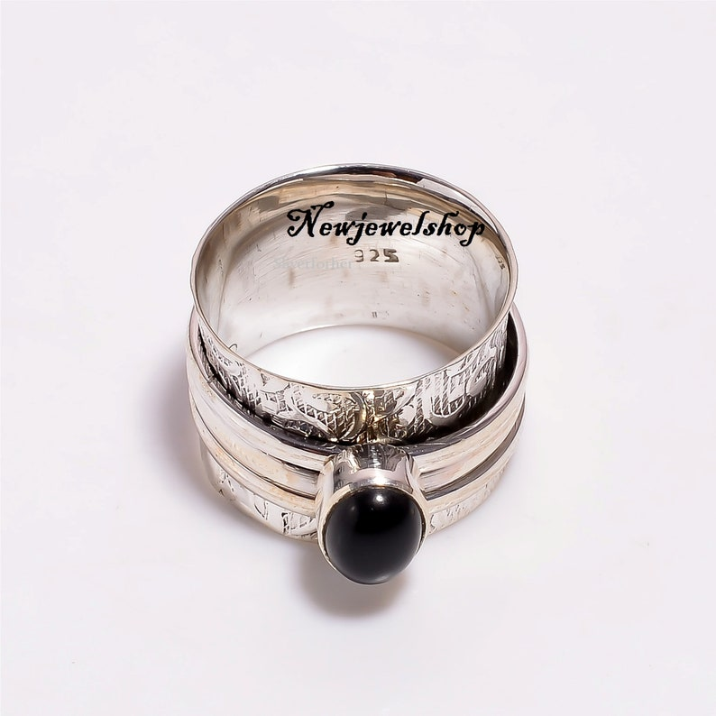 Onyx Jewelry 925 Sterling Silver Gift For Her Spinner Ring Black Onyx Ring Anxiety Ring Silver Spinner Designer Ring