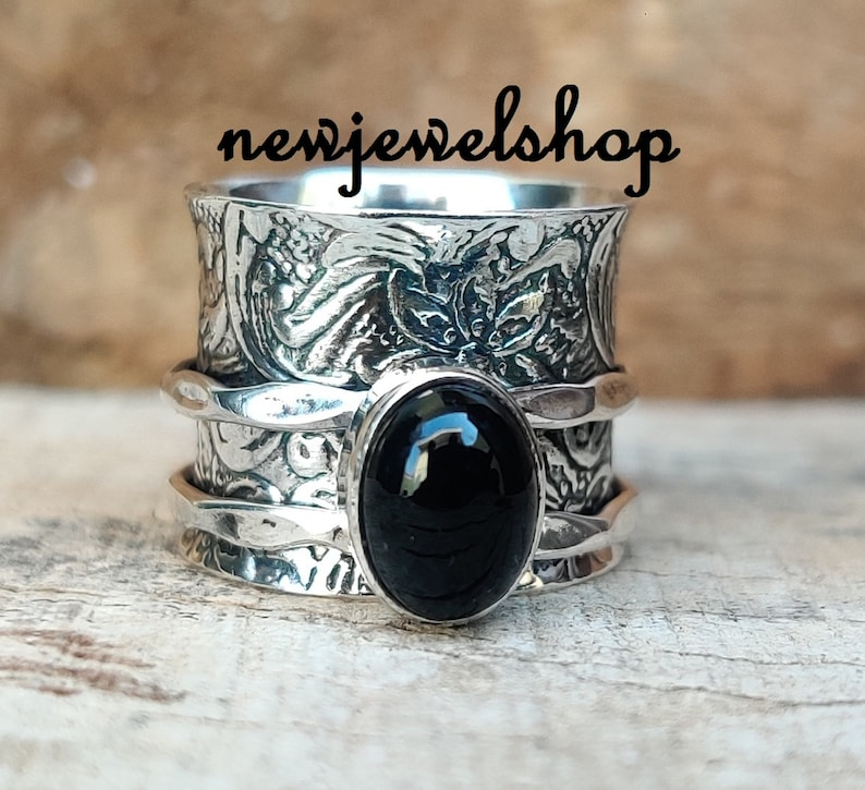 925 Sterling Silver Black Onyx Ring Spinner Ring Gift For Her Women Ring Texture Ring Fidget Ring Meditation Ring Anxiety Ring