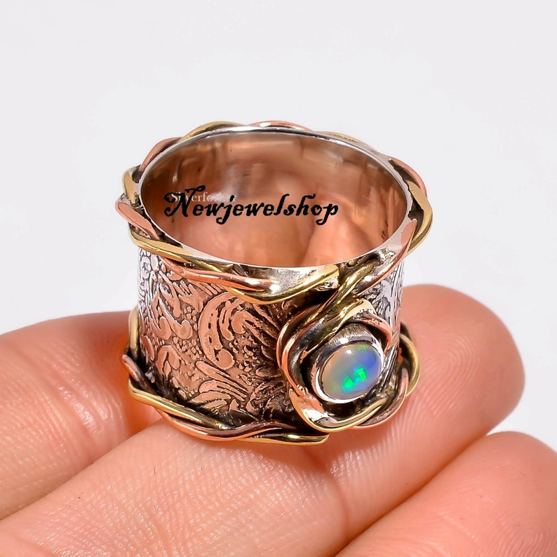 Opal Ring 925 Silver Ring Women Ring Gemstone Ring Gift For Her Spinner Ring Thumb Ring Anxiety Ring Promise Ring Worry Ring