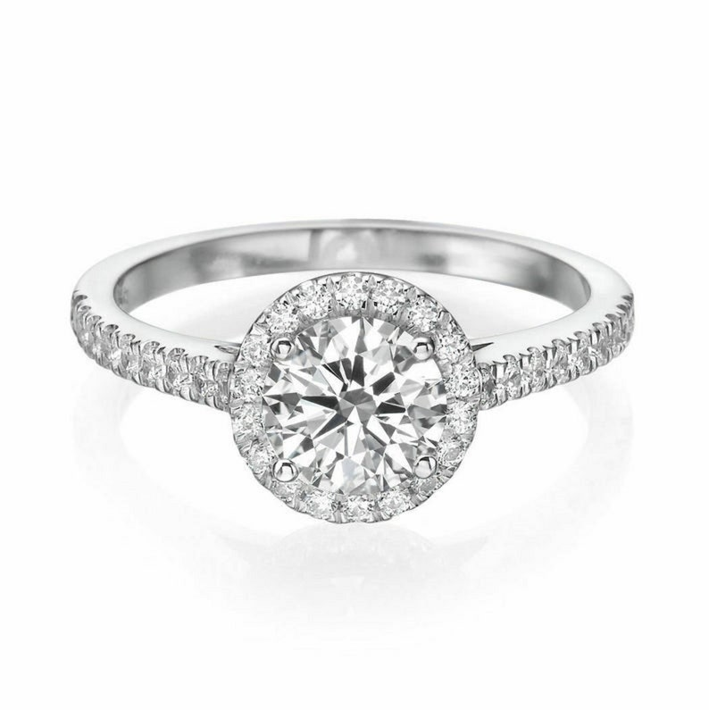 VVS1 D color Ring 925 Sterling Silver Anniversary Ring Halo Vintage Ring 2.00 Round Cut Simulated Diamond Ring Halo Engagement Ring