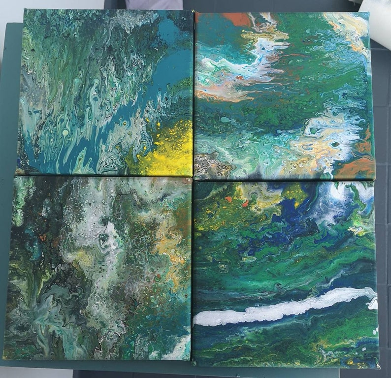 Acrylic painting set of 4 /'Terre/'