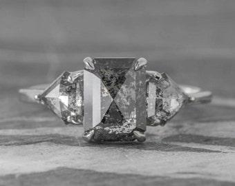 3.1 MM Salt And Pepper Round Brilliant Cut Minimal Diamonds 5 pcs OM4748 Best Price Diamonds 0.63 CT Engagement Ring Jewelry Diamonds