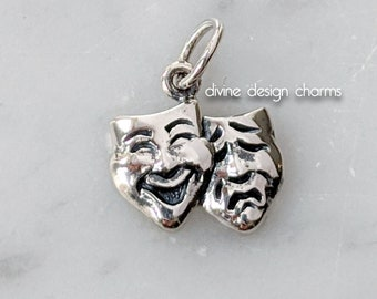 Sterling Silver 3D Comedy And Tragedy Theater Actor Mask Charm