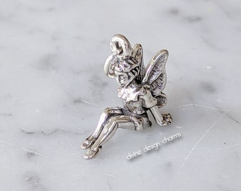 Water Fairy Bracelet toggle clasp fantasy fairies silver toned small fairy charm steel gift for her jewelry metal ringed blue beads
