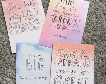 Postcards with sayings, handwritten