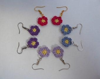 Flower earrings, handmade, crochet earrings