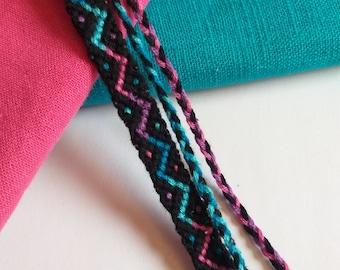 Knotted Friendship Bracelet, Black, Pink, Blue