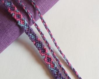 Knotted Friendship Bracelet Set, pink, purple, light blue,