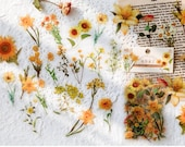 40pcs Flower Stickers Pack PET Clear Die-cut Pressed Yellow Flowers Plants stickers Waterproof Clear Stickers for Journal Scrapbook Phone