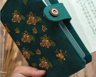 Embroidery Cloth Ring Binder Notebooks Planners Traveler's Journals Pine Cones Agenda Budget Binder Pocket Book Personal & A5 size Inserts