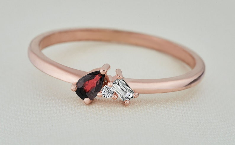 Ruby Ring  14k Natural Ruby and Diamond Ring  Natural Ruby Engagement Ring with Side Baguette and Round Diamonds  Mother/'s Day Gift Ring