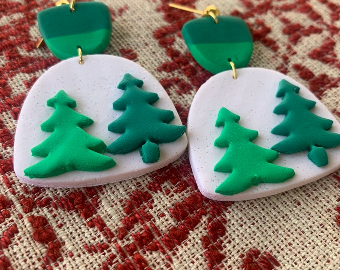 Statement Piece Snowglobe Christmas Tree Polymer Clay Earrings