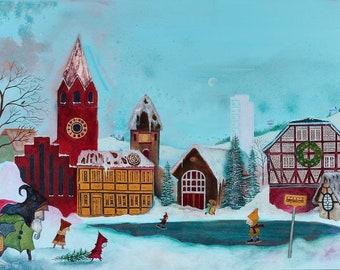 A Winter Scene: Fine Art Giclée Print