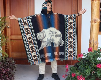 Alpaca Wool Poncho, Bear Wool Poncho, Unisex Poncho, Warm Poncho, Hand made Poncho