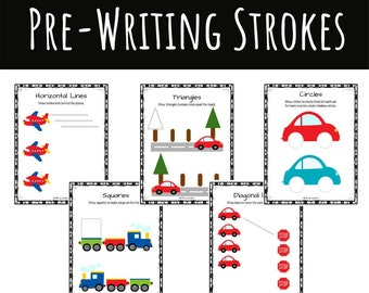 Pre-Writing Strokes and Skills Activity Packet Vehicle Theme for Occupational Therapists, Parents, and Teachers