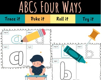 Lowercase ABCs Four Ways Printable Packet for Learning How to Write Letters