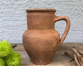 Antique Vessel, Primitive Clay Pot, Wabi-Sabi Décor, Rustic Mediterranean Amphora, Vintage Earthenware Vase, Old Pottery