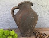 Antique Vessel, Primitive Clay Pot, Wabi-Sabi Décor, Rustic Mediterranean Olive Oil Amphora, Vintage Earthware Vase, Old Pottery