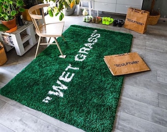 Wet Grass Rug - Exclusive Hypebeast Fluffy Carpet (FedEx Shipping) - Non-Slip Soft & Thick Rug - Very Low Stock
