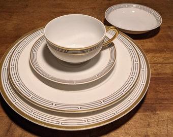 Vintage China /& Ceramics White with Gold Platter Vintage Platter wGreek Key Large Oval Platter Bavaria c1920s Hutschenreuther Platter