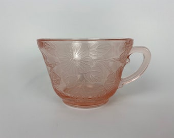 Dogwood Depression Glass Thick Pink Tea Cup