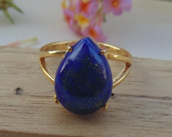 Natural Lapis Lazuli Gemstone 18K Gold Plated Ring Available in All Sizes JG82S