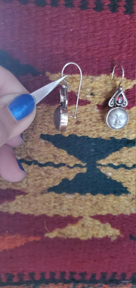 "Carved ""moon face"" moonstone & garnet earrings"