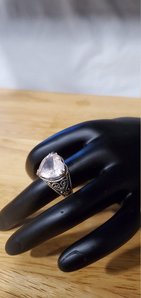Rose Quartz Heart ring
