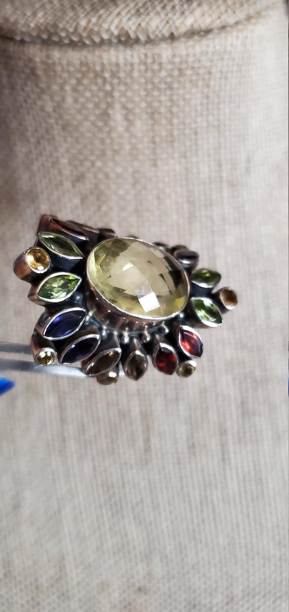 Citrine & multi-gemstone ring