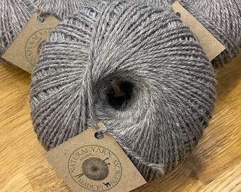 100% Pure British Alpaca yarn undyed Grey dk 100g balls