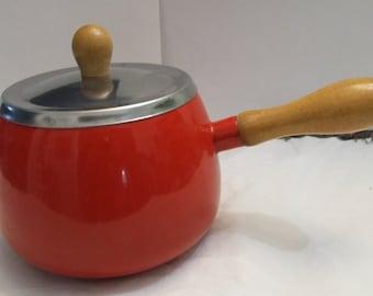 Vintage Red Mid Century Modern Enamel Pot wth Wood Handle