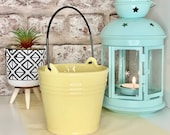 Yellow Ceramic Buckets-Storage Container-Planting Accessory-Home Decor-Plant Pot-2 Sizes Available.