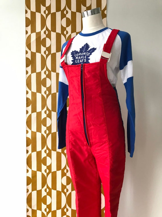 Vintage Retro Red & Navy Snowpants