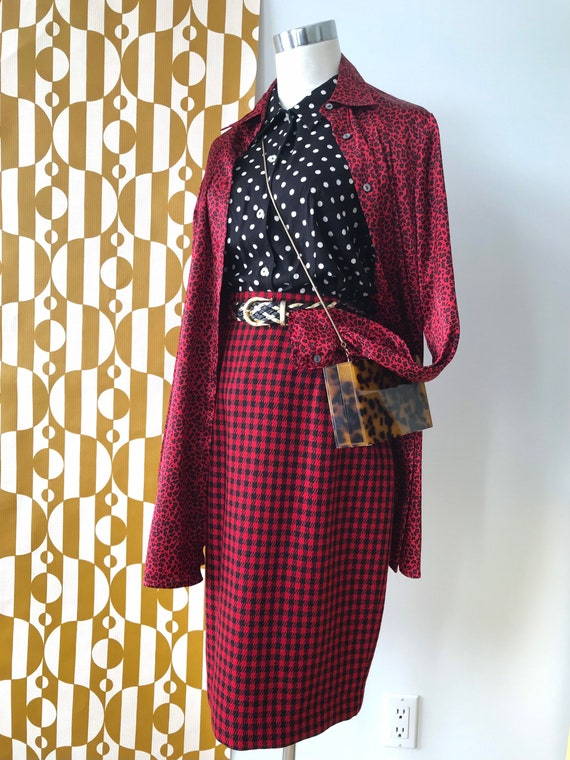 Vintage 70s Houndstooth pencil Skirt red /& Black Small NOS 26 Waist