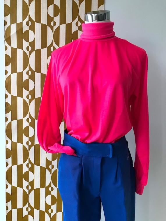 Vintage Neon Pink Thermal Turtleneck