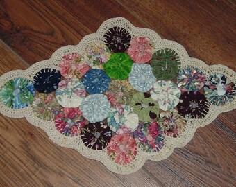 "Unique Multi-Colored Yo-Yo Doily, Hand sewn Yo-Yos PLUS hand crocheted Off-White Edging, 14"" X 9"""