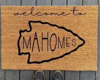 Welcome to Mahomes Doormat   Kansas City Doormat    Chiefs Doormat  Chiefs Decor   Welcome Mat   Custom Doormat  Housewarming  Realtor Gift