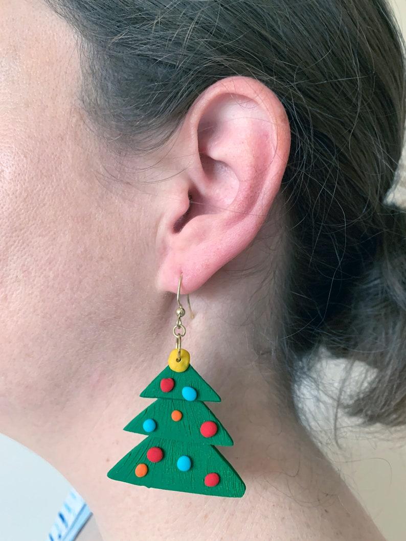 Christmas Tree Dangly Earrings