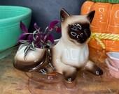 Vintage Ceramic Mid Century Modern Chocolate Point Siamese Cat Shaped Planter