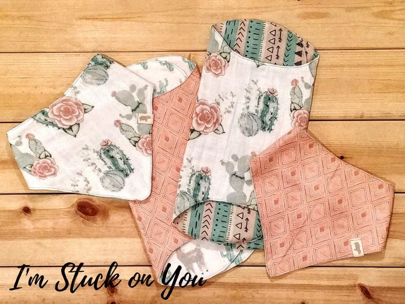 Baby Boy and Baby Girl Bandana Bib and Burp Cloth Gift Set