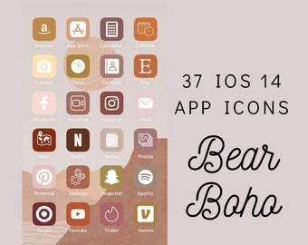 boho aesthetic iphone ios 14 app icon covers by bearboho on etsy boho aesthetic iphone ios 14 app icon