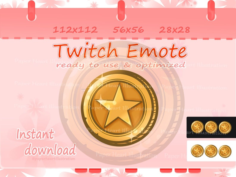 Golden Star Coin Channel Points Emote for Twitch