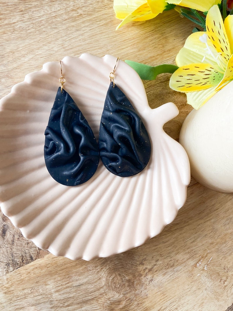 Draped Black Teardrop Earrings with Gold Flake AccentsPolymer Clay Earrings