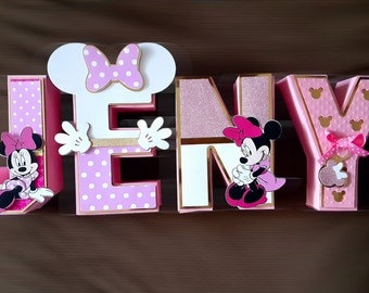 Custom Minnie Mouse or Mickey Mouse 3D Letters / Birthday Party Decorations