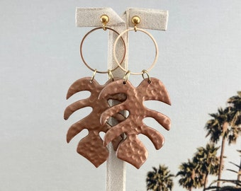 POLYMER CLAY drop earrings White Palm Leaf in Copper w gold hardware