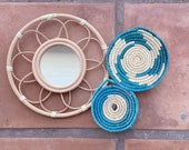 ON SALE Colorful Set of Boho woven seagrass hanging flat baskets. Basket Wall set. Rattan Mirror. Teal, Turquoise, Blue, Natural basket